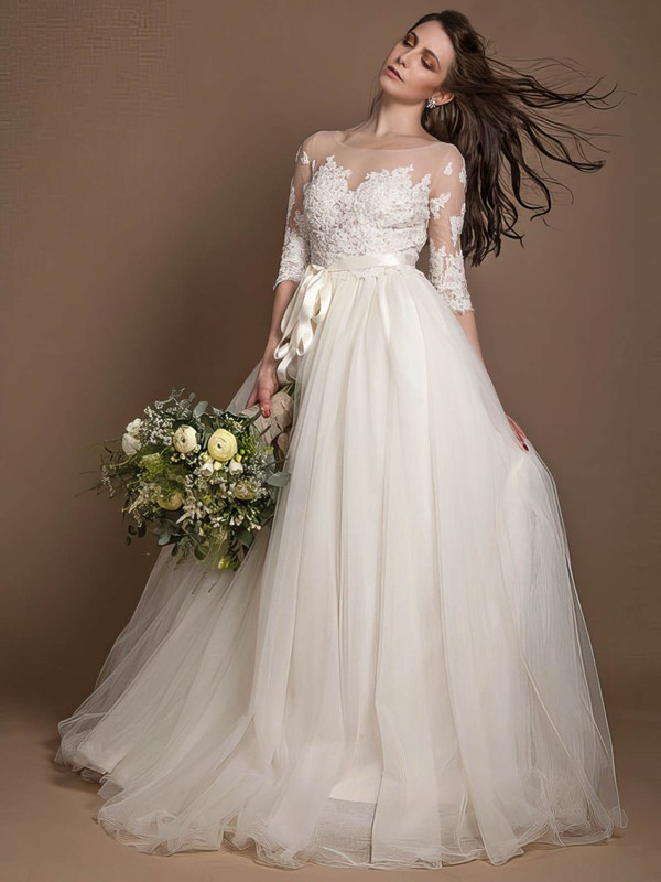 New Princess Scoop Neck Tulle Appliques Lace Floor-length 1/2 Sleeve Wedding Dresses #DOB00022723