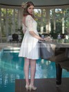 Newest Backless Short/Mini A-line Scoop Neck Satin with Lace 1/2 Sleeve Wedding Dresses #DOB00022724