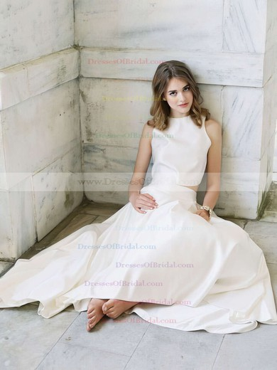 Asymmetrical A-line Scoop Neck Satin with Ruffles Latest Two Piece Wedding Dresses #DOB00022725