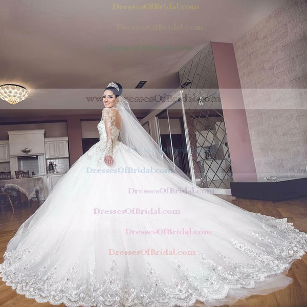 New Arrival Ball Gown Scoop Neck Tulle Appliques Lace Chapel Train Long Sleeve Wedding Dresses #DOB00022727