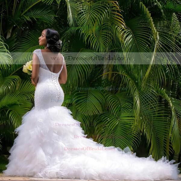 Stunning Backless V-neck Tulle Beading Chapel Train Trumpet/Mermaid Wedding Dresses #DOB00022728