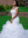 Stunning Backless V-neck Tulle Beading Chapel Train Trumpet/Mermaid Wedding Dresses #DOB00022728