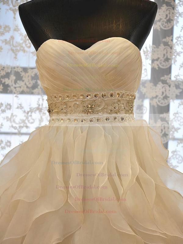 Original A-line Sweetheart Organza with Beading Court Train Wedding Dresses #DOB00022730