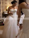 Ball Gown Tulle with Lace Chapel Train Boutique Strapless Wedding Dresses #DOB00022731