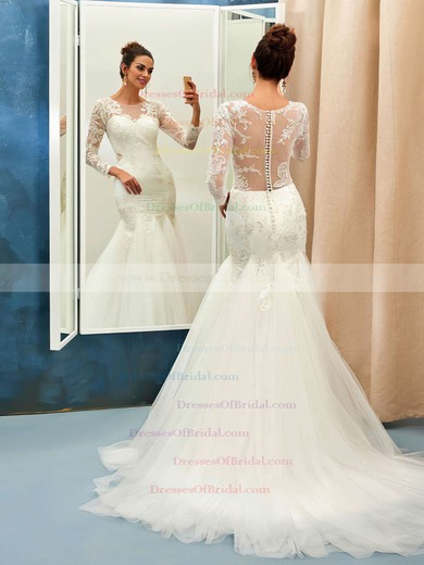 Online Trumpet/Mermaid Scoop Neck Tulle Appliques Lace Sweep Train Long Sleeve Wedding Dresses #DOB00022732