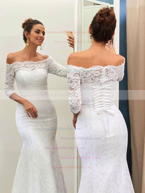 Off-the-shoulder Lace Sweep Train Trumpet/Mermaid 3/4 Sleeve Top Wedding Dresses #DOB00022733