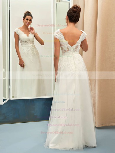 A-line V-neck Tulle with Appliques Lace Floor-length Nice Backless Wedding Dresses #DOB00022734