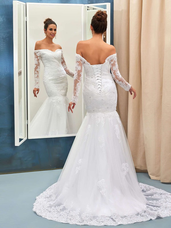 Nicest Off-the-shoulder Trumpet/Mermaid Tulle Appliques Lace Sweep Train Long Sleeve Wedding Dresses #DOB00022735