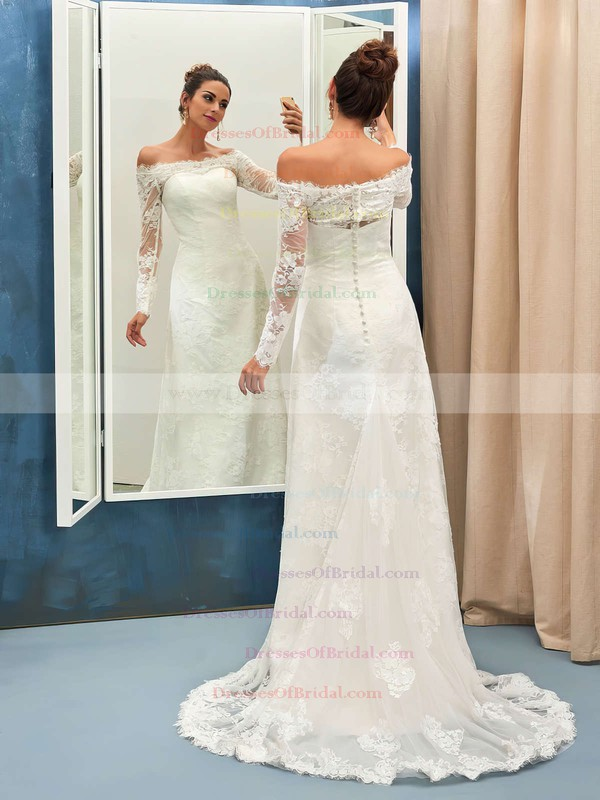 Sheath/Column Tulle Appliques Lace Sweep Train Long Sleeve Off-the-shoulder Great Wedding Dresses #DOB00022736