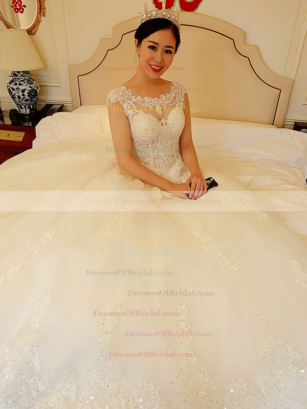 Sparkly Ball Gown Scoop Neck Tulle Appliques Lace Chapel Train Open Back Wedding Dresses #DOB00022738