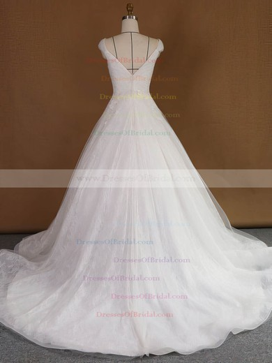 Princess V-neck Lace Tulle with Appliques Lace Court Train Original Wedding Dresses #DOB00022740