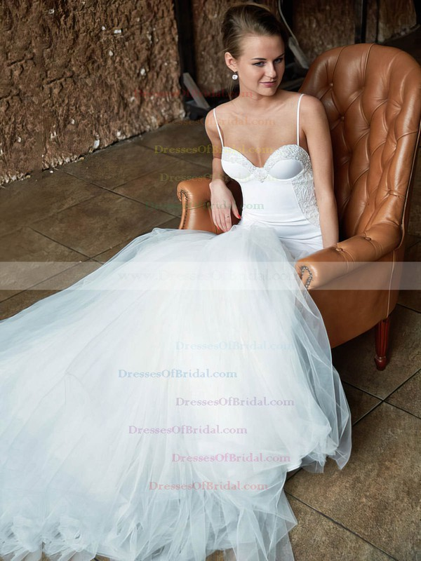 Sexy Sweetheart Spaghetti Straps Tulle with Lace Court Train Trumpet/Mermaid Wedding Dresses #DOB00022741