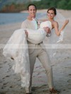 Trumpet/Mermaid Sweetheart Tulle with Appliques Lace Sweep Train Modest Wedding Dresses #DOB00022742