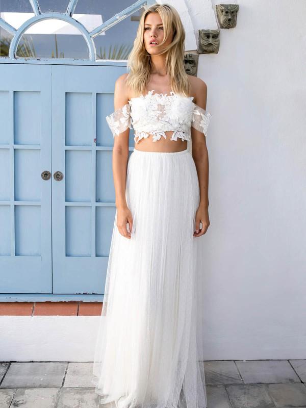 Unique Off-the-shoulder A-line Tulle Appliques Lace Floor-length Two Piece Wedding Dresses #DOB00022743