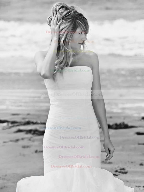 Trendy Trumpet/Mermaid Tulle Cascading Ruffles Sweep Train Strapless Wedding Dresses #DOB00022745