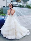 Backless Princess Sweetheart Organza Tulle Appliques Lace Court Train Popular Wedding Dresses #DOB00022746