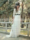 Fashion A-line Scoop Neck Lace Sashes / Ribbons Sweep Train 1/2 Sleeve Wedding Dresses #DOB00022748