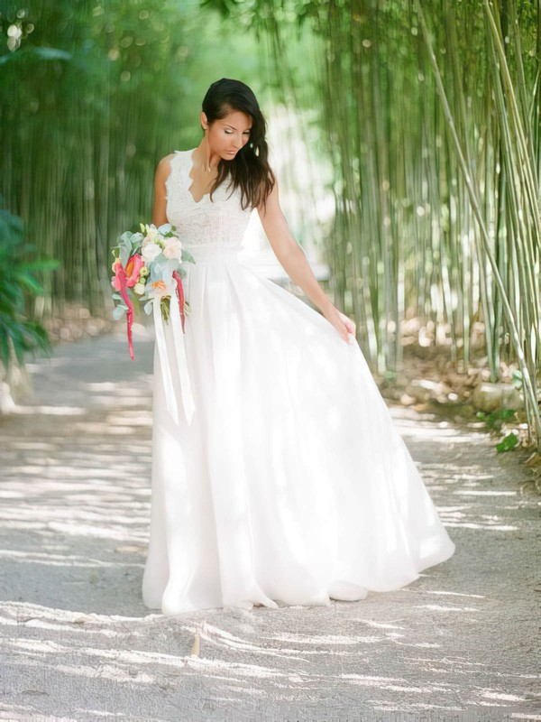 A-line V-neck Lace Chiffon with Ruffles Floor-length Graceful Backless Wedding Dresses #DOB00022749