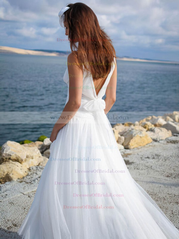 Simple V-neck A-line Tulle with Ruffles Sweep Train Backless Wedding Dresses #DOB00022750
