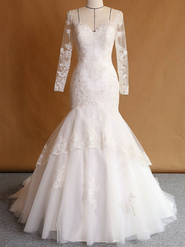 Trumpet/Mermaid Scoop Neck Tulle Appliques Lace Sweep Train Long Sleeve Custom Wedding Dresses #DOB00022751