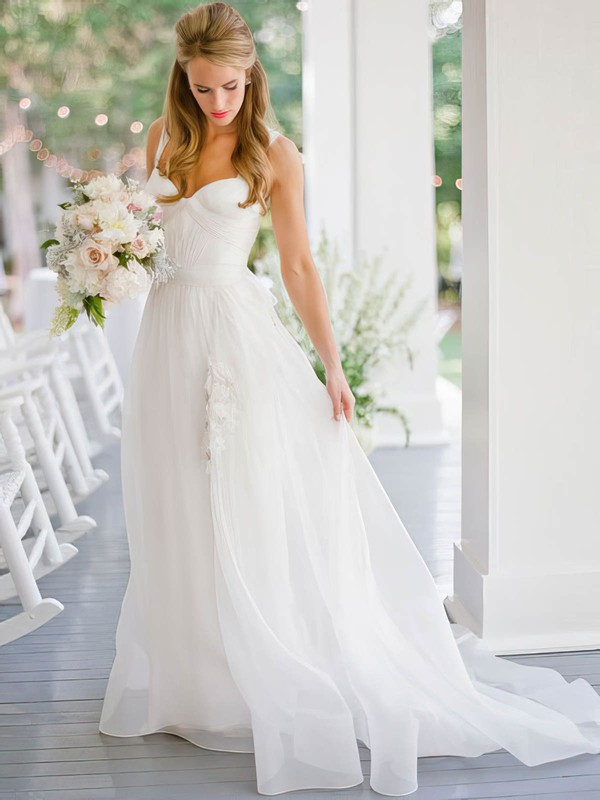 A-line Sweetheart Chiffon with Ruffles Sweep Train Beautiful Wedding Dresses #DOB00022752