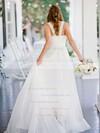 A-line Sweetheart Chiffon with Ruffles Sweep Train Beautiful Wedding Dresses #DOB00022752