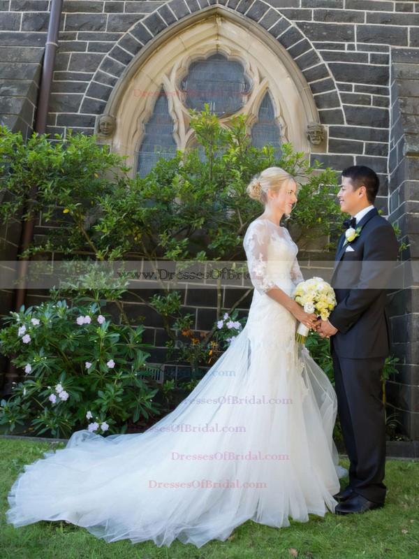 Trumpet/Mermaid Scoop Neck Tulle Appliques Lace Court Train Elegant 3/4 Sleeve Wedding Dresses #DOB00022754