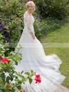 Trumpet/Mermaid Scoop Neck Tulle Appliques Lace Court Train Elegant 3/4 Sleeve Wedding Dresses #DOB00022754