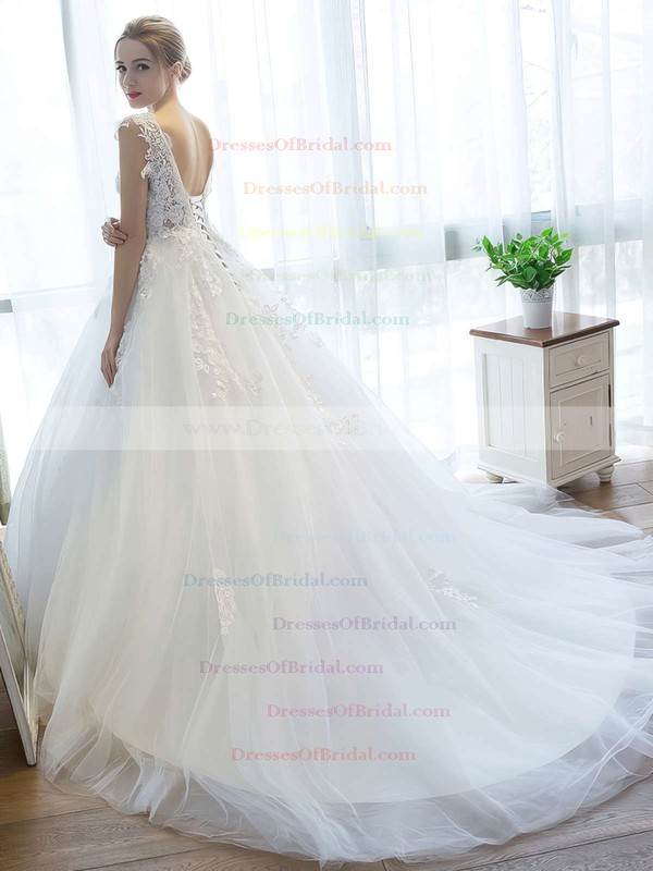 Fabulous V-neck Tulle with Appliques Lace Court Train Ball Gown Backless Wedding Dresses #DOB00022757