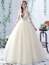 Open Back Ball Gown Scalloped Neck Tulle Appliques Lace Floor-length Sweet 3/4 Sleeve Wedding Dresses #DOB00022758