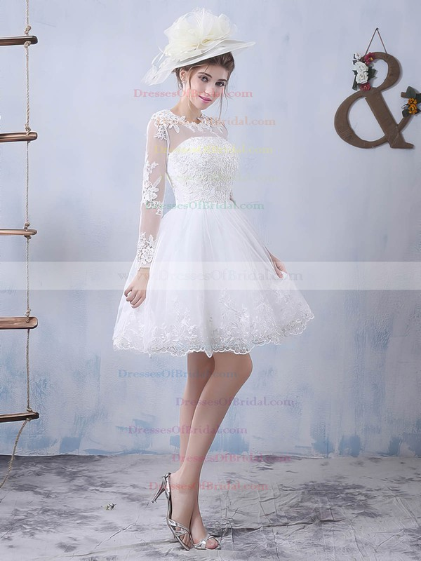 Pretty A-line Scoop Neck Tulle Appliques Lace Long Sleeve Short/Mini Wedding Dresses #DOB00022759