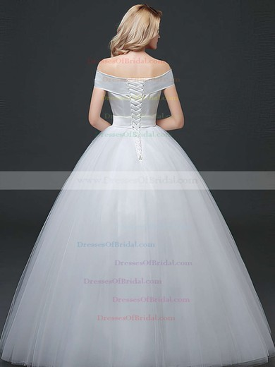 Elegant Ball Gown Satin Tulle Sashes / Ribbons Floor-length Lace-up Off-the-shoulder Wedding Dresses #DOB00022760