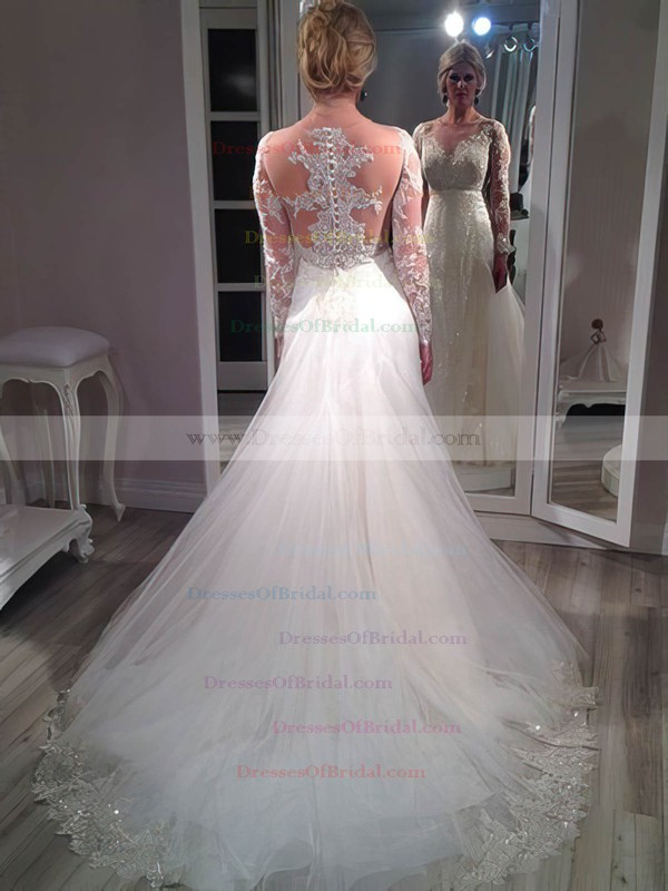 Sparkly A-line Scoop Neck Tulle Appliques Lace Court Train Long Sleeve Wedding Dresses #DOB00022761