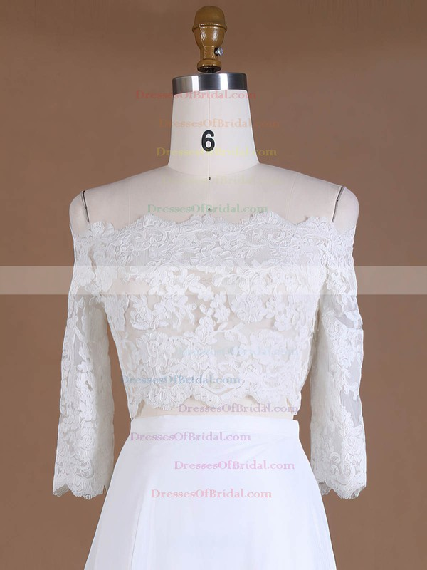Off-the-shoulder A-line Chiffon Tulle Appliques Lace Sweep Train 3/4 Sleeve Custom Two Piece Wedding Dresses #DOB00022762