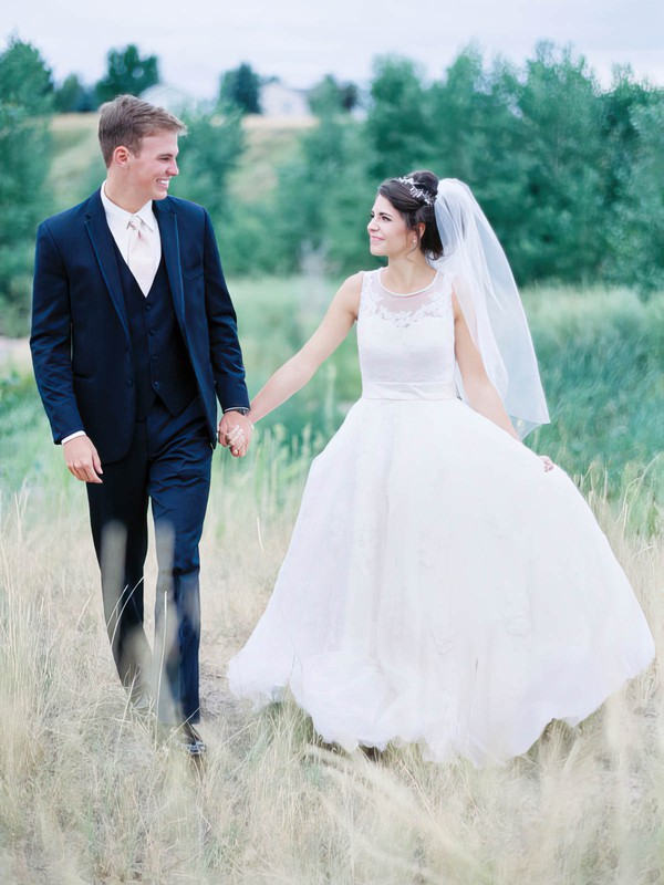 Beautiful A-line Scoop Neck Tulle with Appliques Lace Court Train Wedding Dresses #DOB00022763