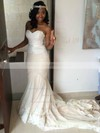 Trumpet/Mermaid Sweetheart Tulle with Appliques Lace Court Train Sexy Wedding Dresses #DOB00022764
