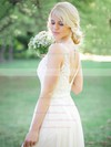 Backless A-line Scoop Neck Tulle Chiffon Appliques Lace Sweep Train Modest Wedding Dresses #DOB00022765