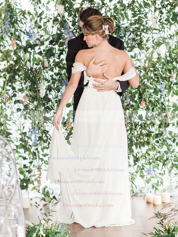 Backless A-line Chiffon Ruffles Floor-length Different Off-the-shoulder Wedding Dresses #DOB00022768