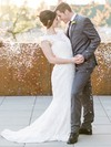 Scoop Neck Lace with Sashes / Ribbons Sweep Train Graceful Trumpet/Mermaid Wedding Dresses #DOB00022770