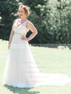 A-line V-neck Tulle with Beading Sweep Train Open Back Fabulous Wedding Dresses #DOB00022772