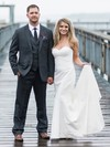 Sweetheart Satin with Ruffles Sweep Train Simple Trumpet/Mermaid Wedding Dresses #DOB00022774