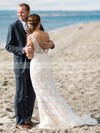 V-neck Backless Sheath/Column Tulle Appliques Lace Sweep Train Popular Wedding Dresses #DOB00022775