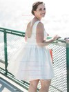 A-line Scoop Neck Satin with Beading Backless Inexpensive Short/Mini Wedding Dresses #DOB00022776