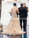 A-line Scoop Neck Tulle with Appliques Lace Court Train Glamorous Wedding Dresses #DOB00022777