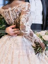Stunning Princess Scoop Neck Tulle with Beading Court Train Long Sleeve Wedding Dresses #DOB00022778