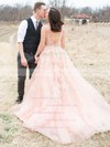 Backless A-line Tulle with Beading V-neck Court Train Amazing Wedding Dresses #DOB00022779