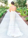 Graceful Trumpet/Mermaid Sweetheart Tulle Appliques Lace Sweep Train Backless Wedding Dresses #DOB00022780