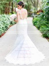 Trumpet/Mermaid V-neck Tulle Appliques Lace Sweep Train Classy Backless Wedding Dresses #DOB00022781