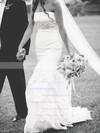 Trumpet/Mermaid Strapless Satin Satin Chiffon with Beading Sweep Train Classic Wedding Dresses #DOB00022783