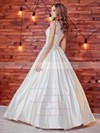 Noble Ball Gown Scoop Neck Satin Lace with Sashes / Ribbons Floor-length Wedding Dresses #DOB00022784
